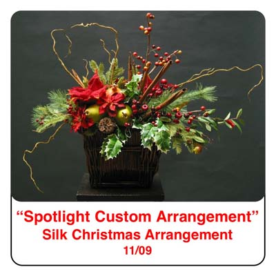 November Spotlight Christmas Flower Arrangement using holly, pine, cinammon sticks, artificial berries, poinsettias, pears, and kiwi in a basket