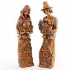 Resin Harvest Couple Figurine Indians Pilgrims Turkeys