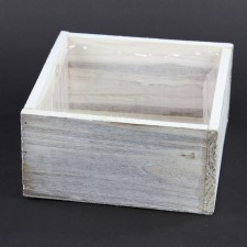 "7""X7""X3.5""WOODLAND PLANTER WH"