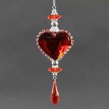 ACRYLIC HEART ORNA RED/SIL