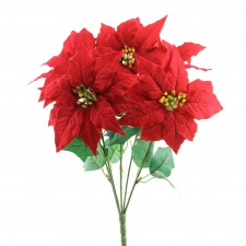 "19.5""POINSETTIA BUSH X5 RED"