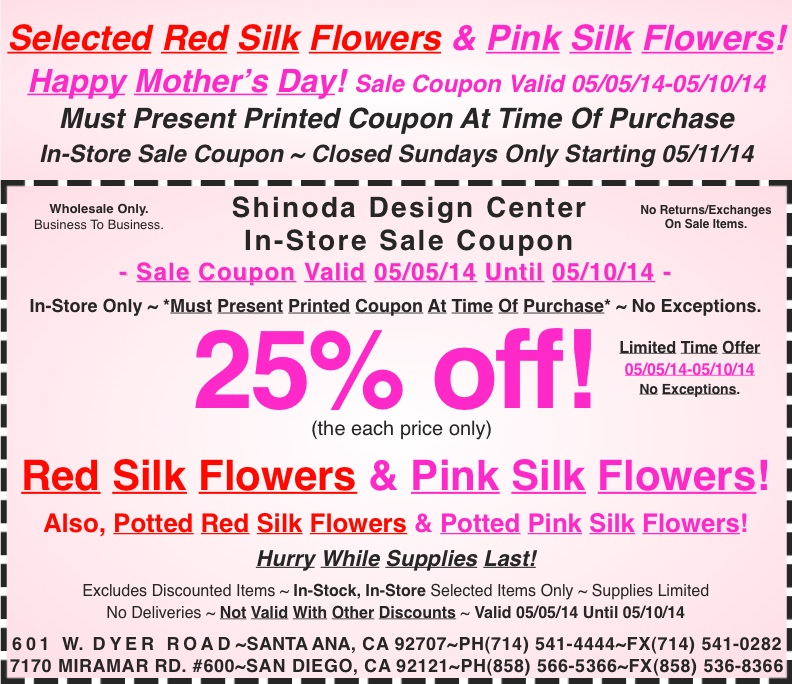 In store coupon 25 off red silk flowers pink silk flowers this mightylinksfo