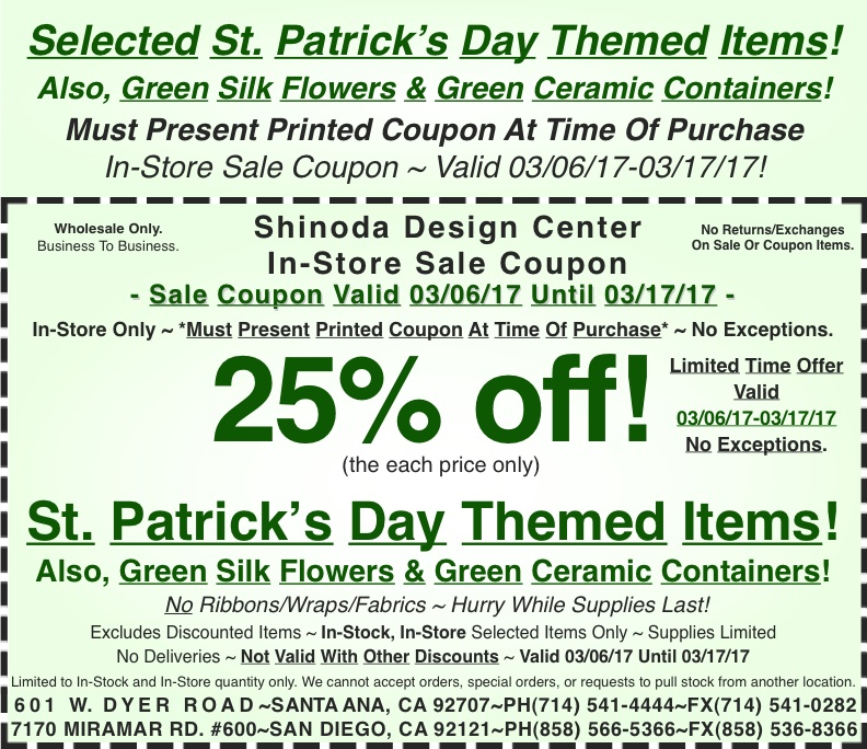 In store coupon 25 off selected st patricks day themed items pin it mightylinksfo