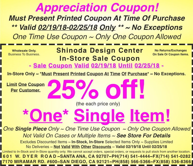 in store appreciation coupon 25 off one single item shinoda