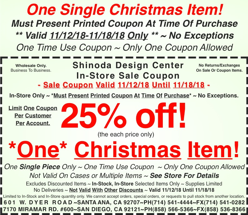 in store coupon 25 off one christmas item shinoda design center