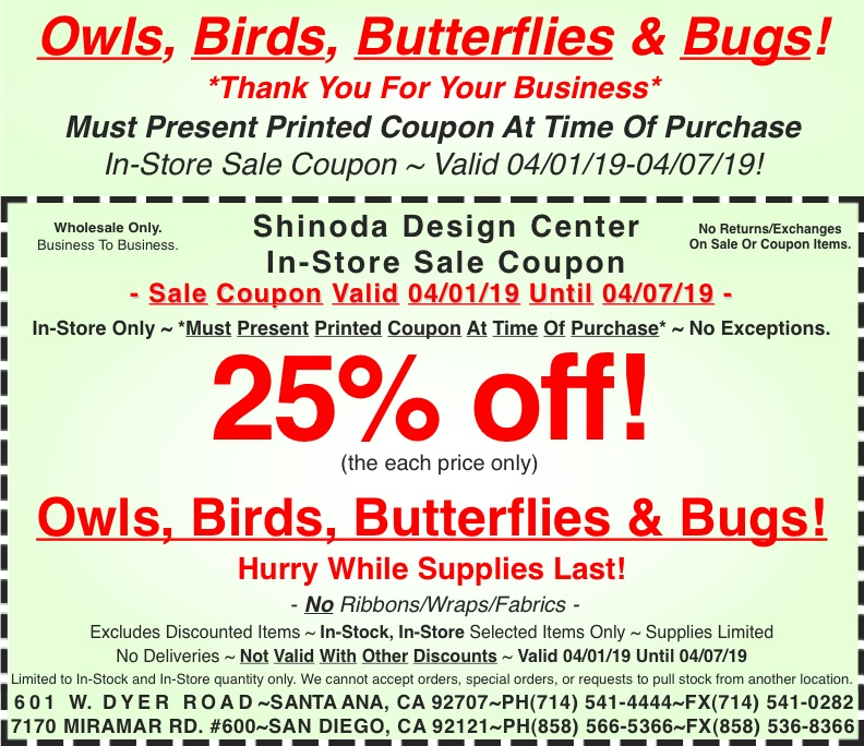graphic regarding Blockbuster Printable Coupon named In just-Keep Coupon: 25%off Owls, Birds, Butterflies Insects